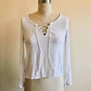 Tops - White, long-sleeved top with lace up front